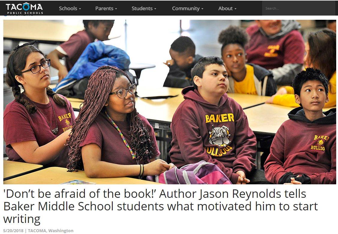 Tacoma Schools Students Skype with Author Jason Reynolds