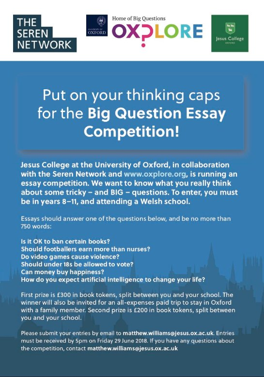 Research Essay Thesis Statement Example  Is Running An Essay Competition We Want To Know What You Really Think  About Some Big Questions Email Entries To Matthewwilliamsjesusoxacuk  By Pm  English Essay Story also Othello Essay Thesis Seren Network On Twitter Jesus College In Collaboration With The  Importance Of English Essay