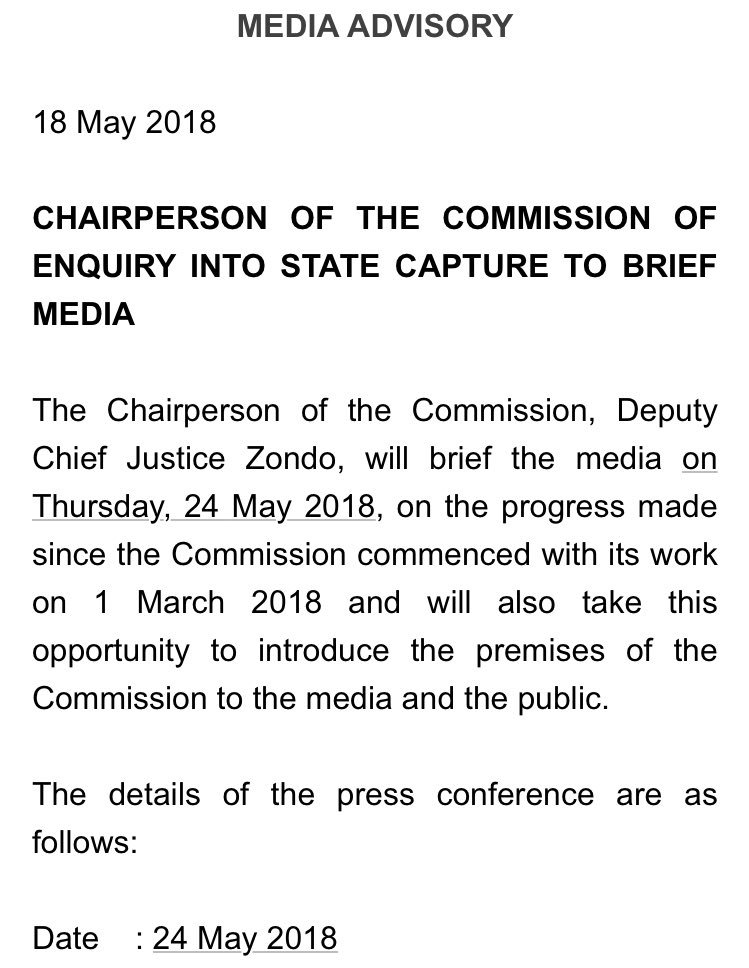 DCJ Zondo to update SA on the progress with the #StateCapture inquiry this Thursday —->