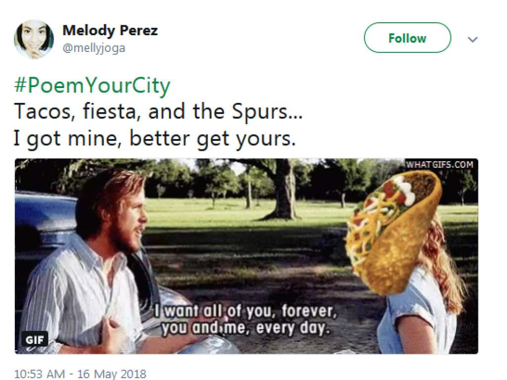 #PoemYourCity is one of the more delightful Twitter things I&#39;ve seen and here&#39;s what people wrote about San Antonio:  https://www. mysanantonio.com/lifestyle/arti cle/Twitter-users-wax-poetic-about-San-Antonio-with-12923135.php &nbsp; … <br>http://pic.twitter.com/iKfKpCiupP