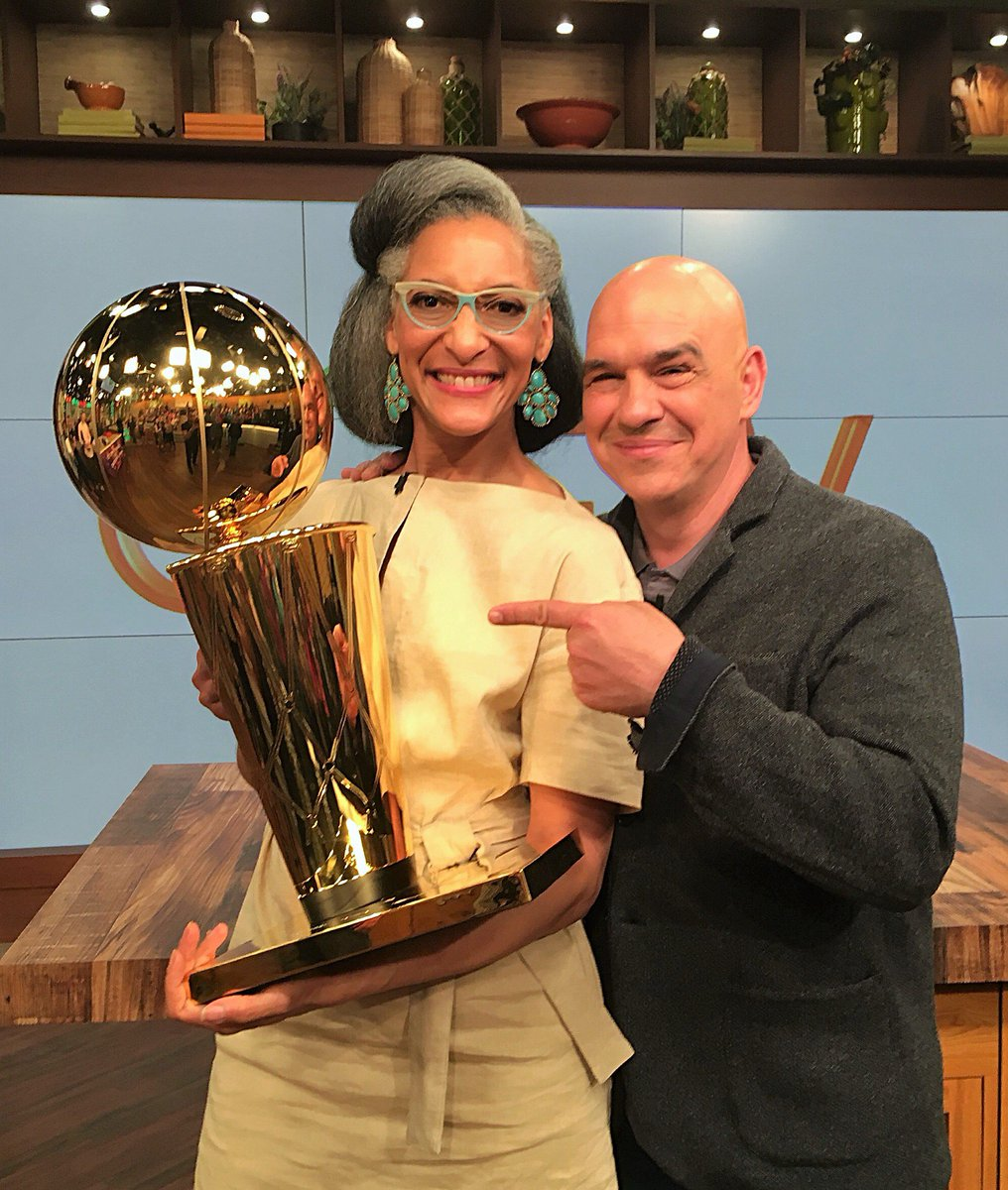 In honor of tonights playoff game against the @celtics and @cavs, @Carlahall and @ChefSymon got a chance to hold the @NBA Championship trophy! Who are you rooting for??? #NBAPlayoffs