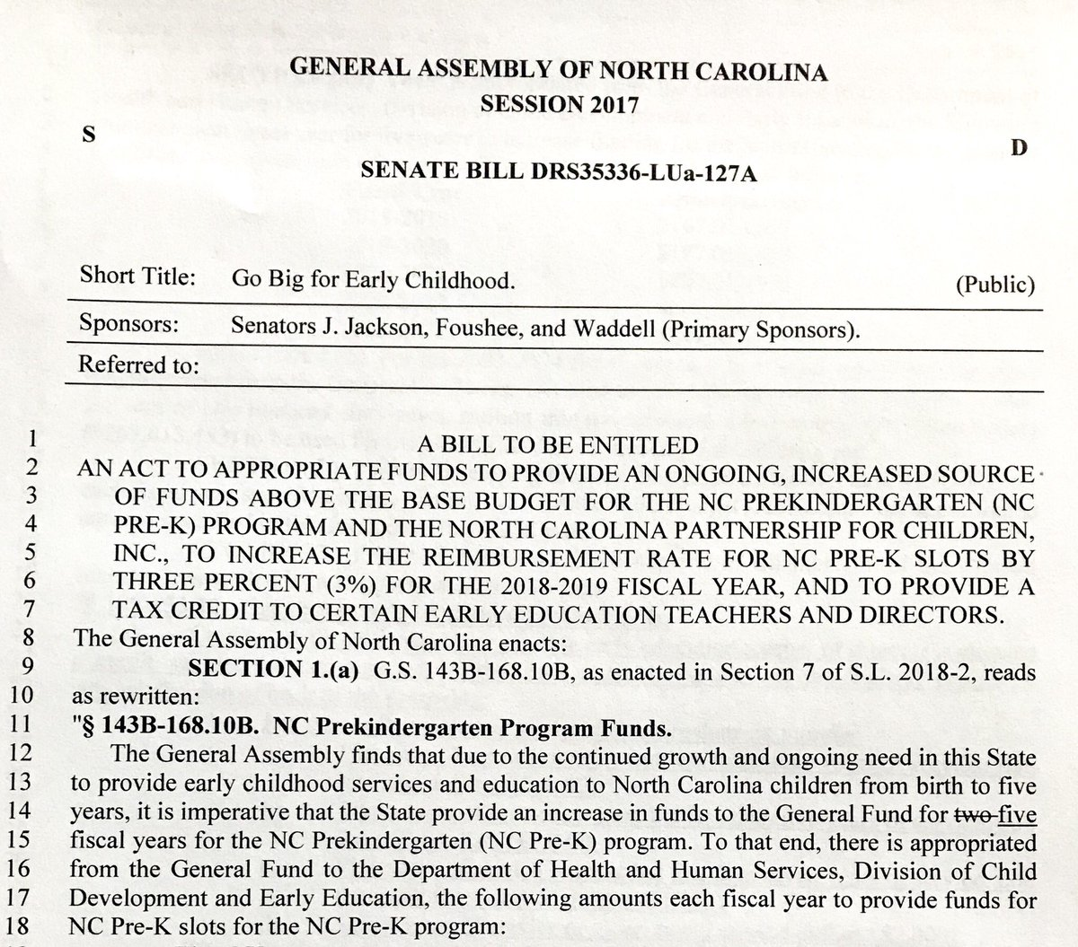 Just filed my first bill of the year: Go Big for Early Childhood.   It takes our funding for early childhood education from 1% of our budget to 2% over the next five years and will let us reach tens of thousands more young children.  #ncpol #ncga #nced #clt<br>http://pic.twitter.com/sTUNqUfvZ3