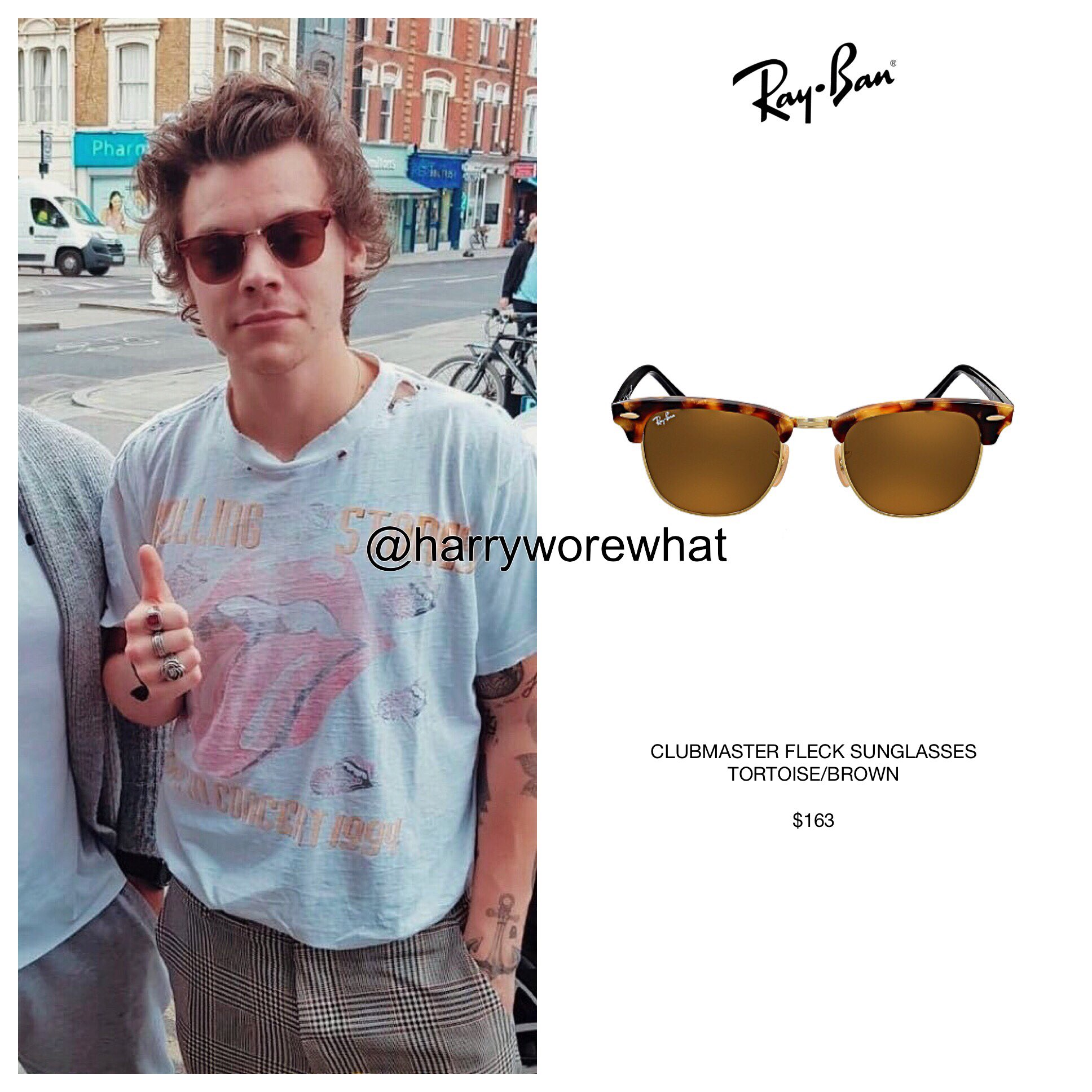 82542f40d6 ... cheap harry wore what on twitter harry wore 163 rayban clubmaster fleck  sunglasses in tortoise brown