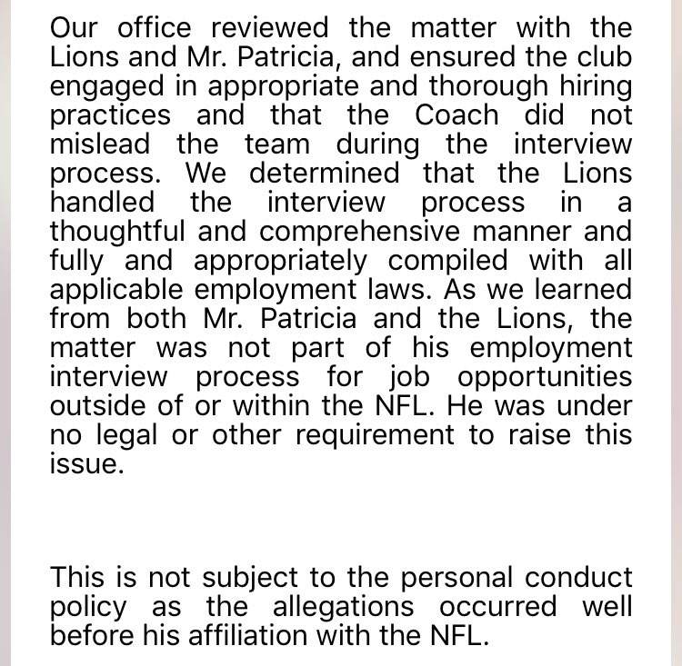 The NFL found that Matt Patricia did not lead the #Lions and the team complied with all employment laws. Allegation was from 1996, so not subject to personal conduct policy. Full statement from @NFLprguy: