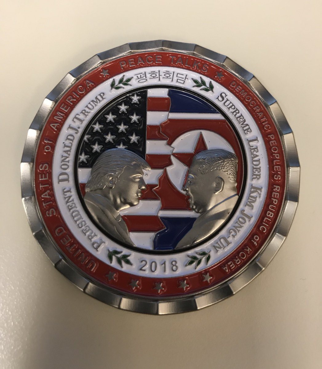 There's now a White House Military Office coin for the upcoming Trump Kim Jong Un summit. The North Korean dictator is referred to as 'Supreme Leader Kim Jong Un.'