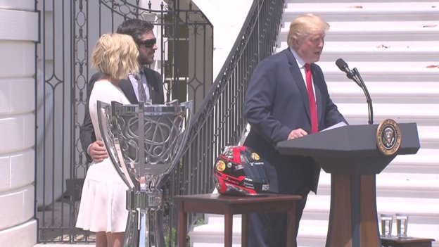 'One thing I know about @NASCAR,' says @POTUS. 'They stand for the playing of the National Anthem.'