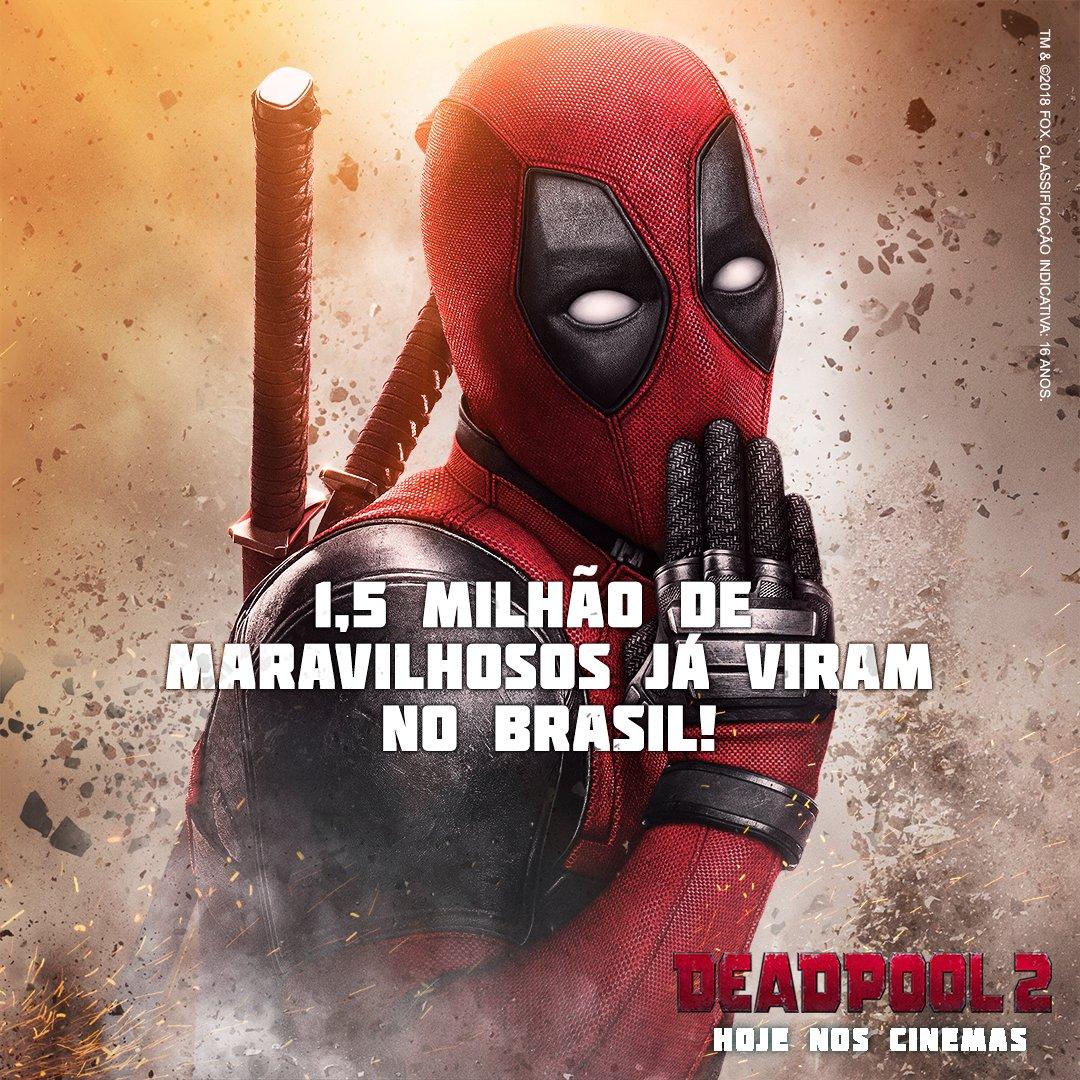 É DO BRASIL! Aquele abraço para quem fez de #Deadpool2 o filme #1 no Brasil e no mundo! ❤Marque quem não pode deixar de ver! Hoje nos cinemas. https://t.co/ZZ5FDIONgD