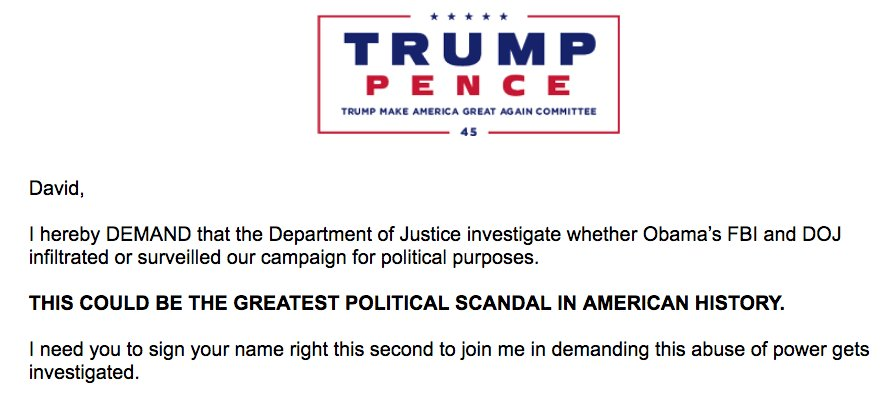 Trump is now raising money off his ridiculous charge that the FBI spied on his campaign 'for political purposes.' #NoShame #FalseNarrative #FakePOTUS