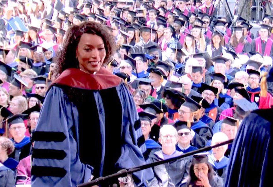 Angela Bassett receives her third degree from Yale University today. Powerful.