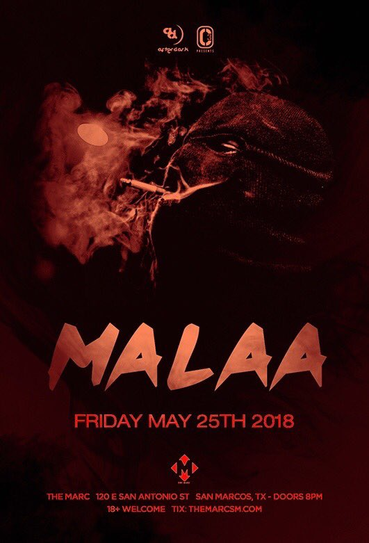 THIS FRIDAY: @Malaamusic makes his #SMTX debut at @TheMarcSM!! #TXST TheMarcSM.com
