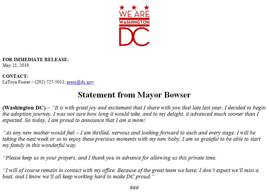 Congratulations, @MayorBowser!