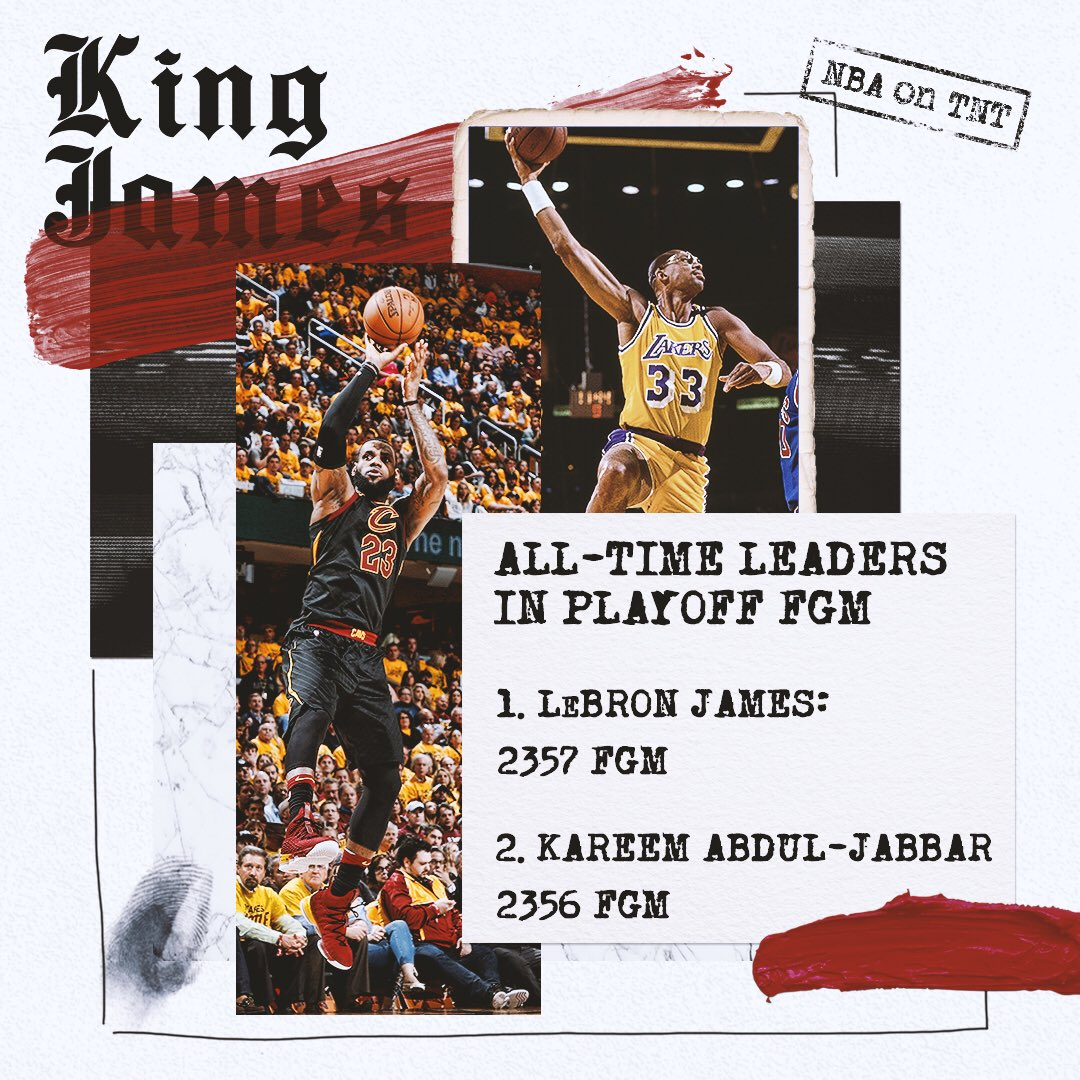 Nobody has more buckets in playoff history than @KingJames. �� https://t.co/OiNnwjjIwU