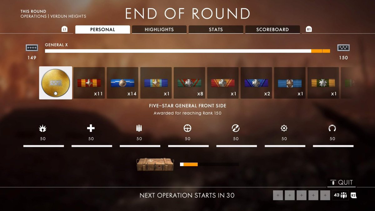 whats the highest rank in battlefield 1