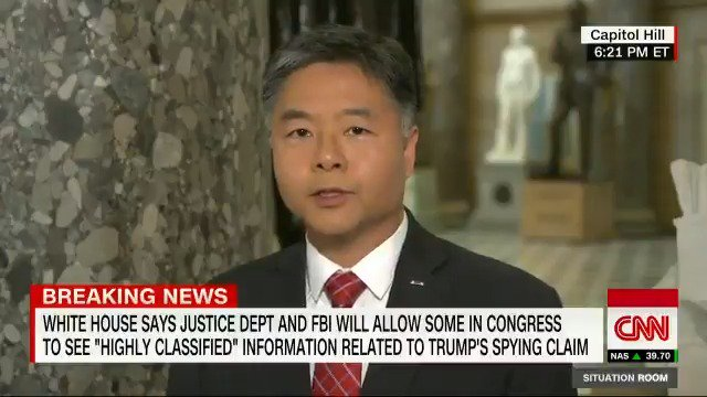 """""""I'm a former prosecutor, and these are not the actions of an innocent person."""" Rep. Lieu says Trump's """"continued assault"""" on the rule of law and the independence of the Department of Justice, """"is highly disturbing."""" cnn.it/2GCrq8D"""