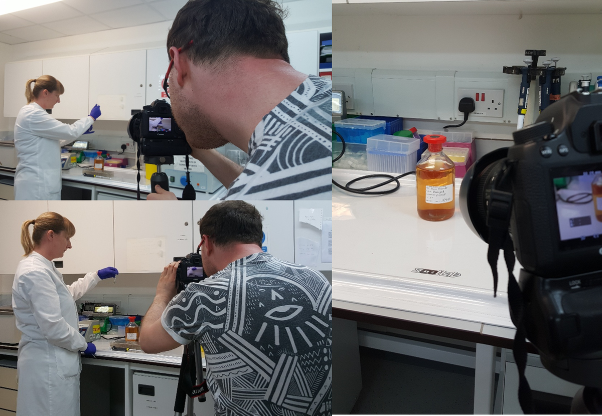 Preparing for International PKU Day. @FunkyGuy is busy again. Here he is filming the ferric chloride test which is able to detect PKU. Dr Horst Bickel introduced the ferric choloride test to Birmingham. Incredibly, PKU was diagnosed in the second child that was tested. <br>http://pic.twitter.com/dYefpwEgNH