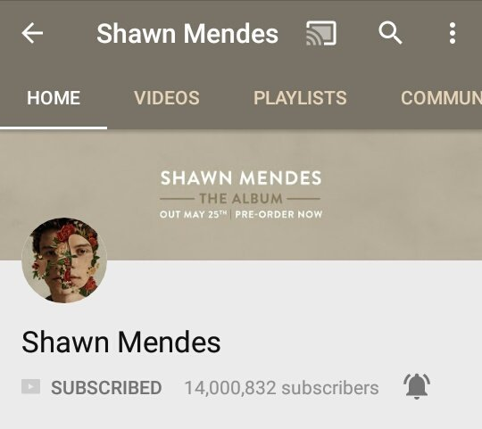 Shawn Mendes's channel on YouTube has surpassed 14 million subscribers.