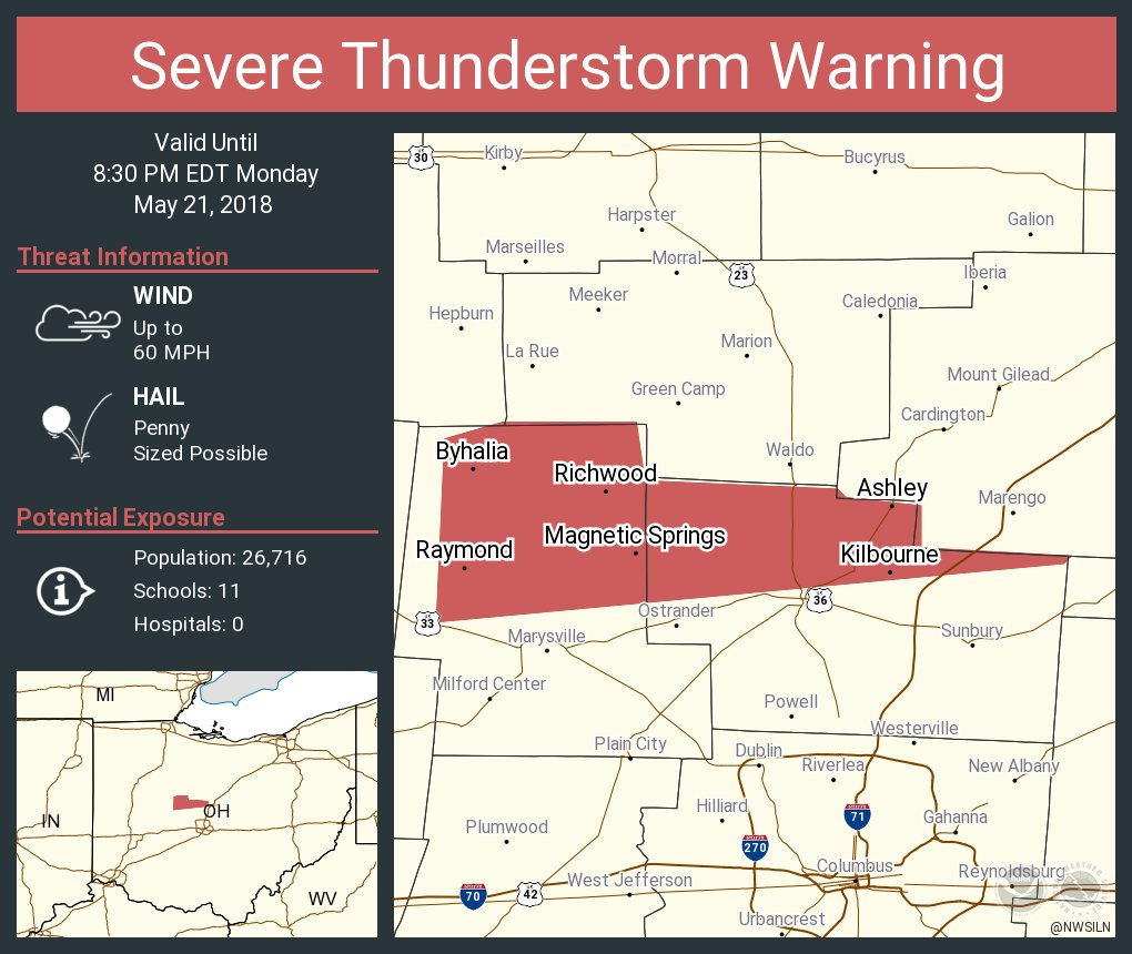 Ashley Ohio Map.Nws Wilmington Oh On Twitter Severe Thunderstorm Warning Including