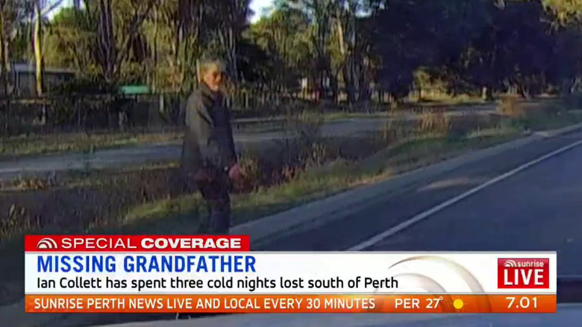 Image for the Tweet beginning: Missing Perth grandfather Ian Collett
