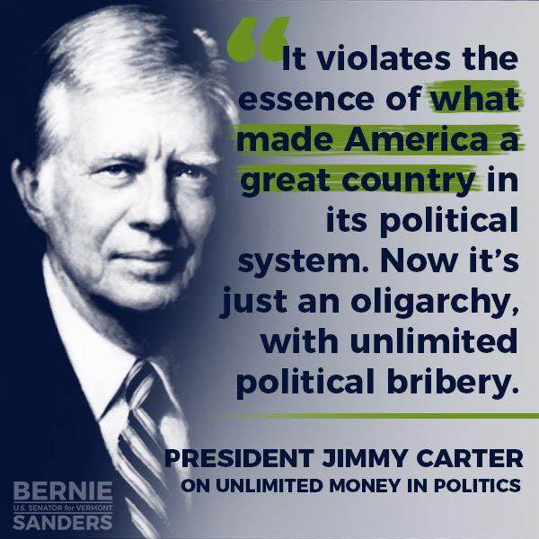 """Jimmy Carter: The United States is now an """"oligarchy"""" in which """"unlimited political bribery"""" has created """"a complete subversion of our political system as a payoff to major contributors."""" Both parties """"look upon this unlimited money as a great benefit to themselves."""" <br>http://pic.twitter.com/2ZgWZJVkCw"""