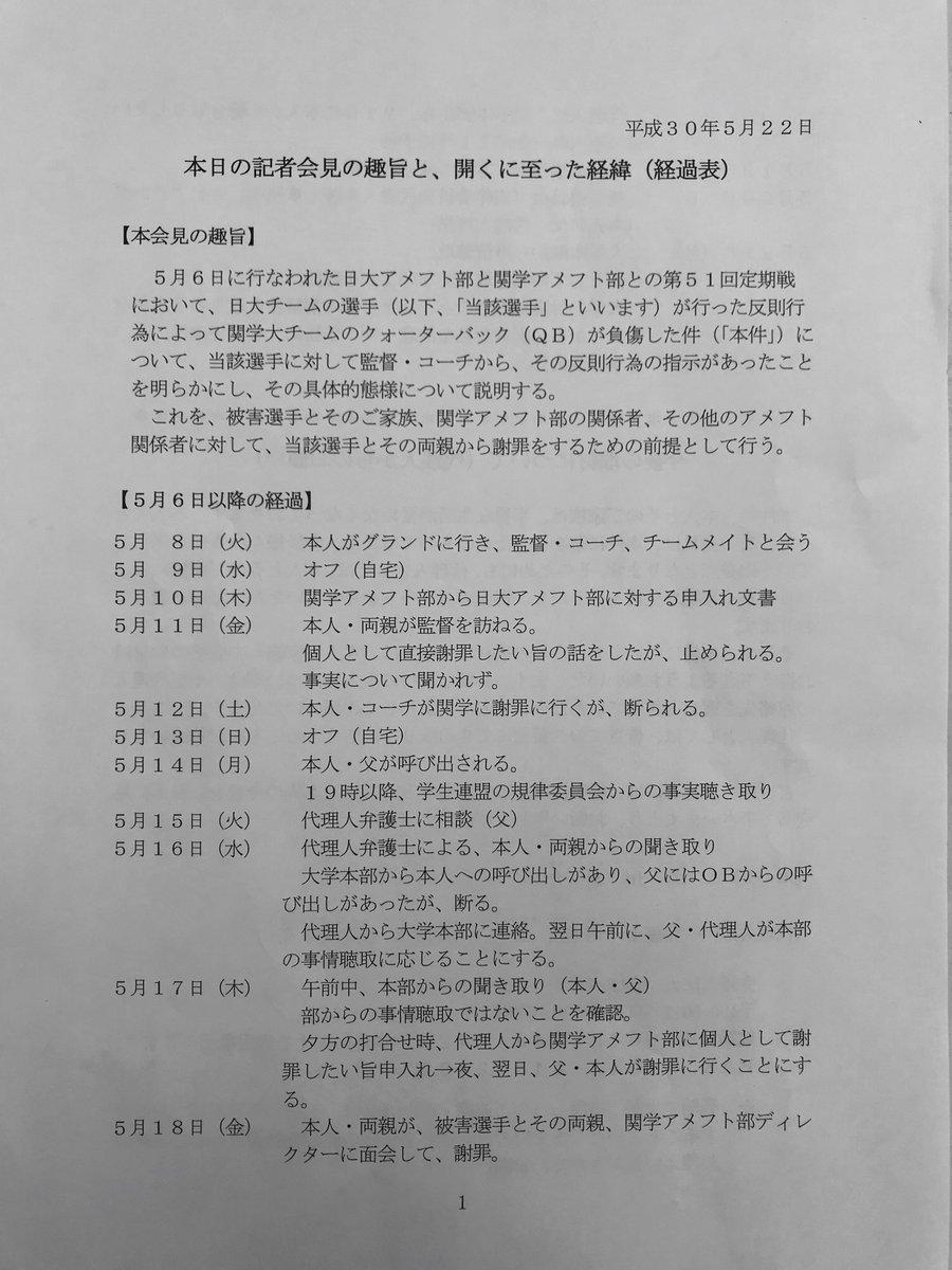 日本大学アメフト部の反則タックル問題に関する日大選手の記者会見を生中継でお送りしております  会見の視聴はこちらから⇒
