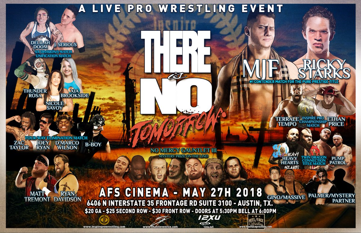 This Sunday, INSPIRE PRO WRESTLING presents THERE IS NO TOMORROW at AFS CINEMA in Austin!  TICKETS: InspireProWrestling.com  RSVP: facebook.com/events/1768827…  #InspirePro #Wrestling #ThereIsNoTomorrow #SupportIndyWrestling #ATX #WomensWrestling