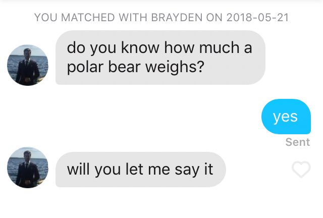 good to be back on tinder https://t.co/ETqwUvO8Nm
