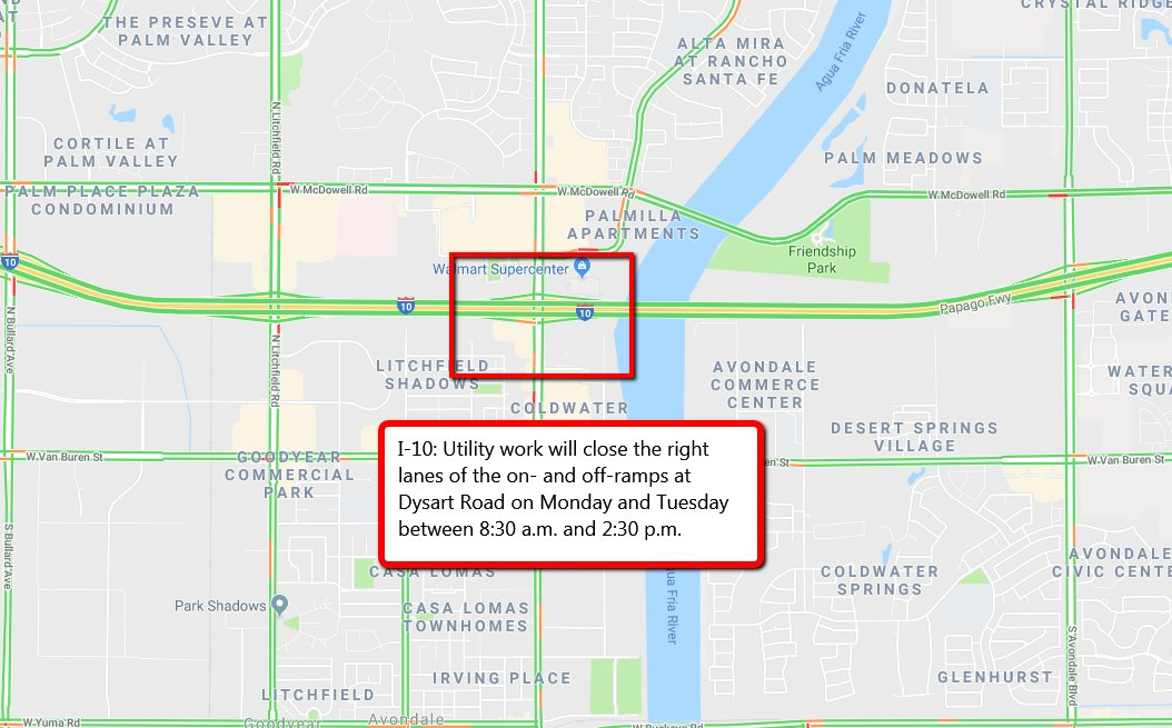 ... lanes of the I-10 on- and off-ramps at Dysart Road today. The work is  scheduled between 8:30 a.m. and 2:30 p.m. Read more here:  https://bit.ly/2GyUIVt ...