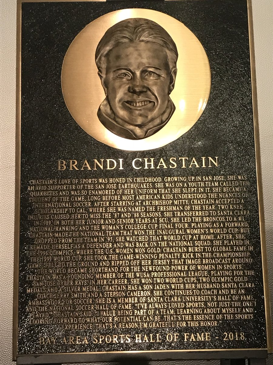 Brandi Chastain is one of the most beautiful athletes I've ever covered. How this became her plaque is a freaking embarrassment for BASHOF. Makes Cristiano's look perfect.