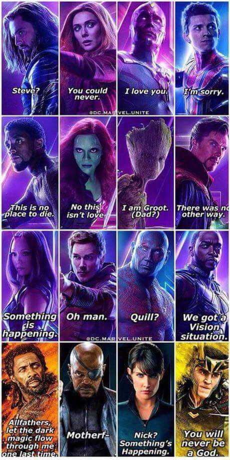 Their last words from infinity war.  <br>http://pic.twitter.com/4UoVGg4j6Q