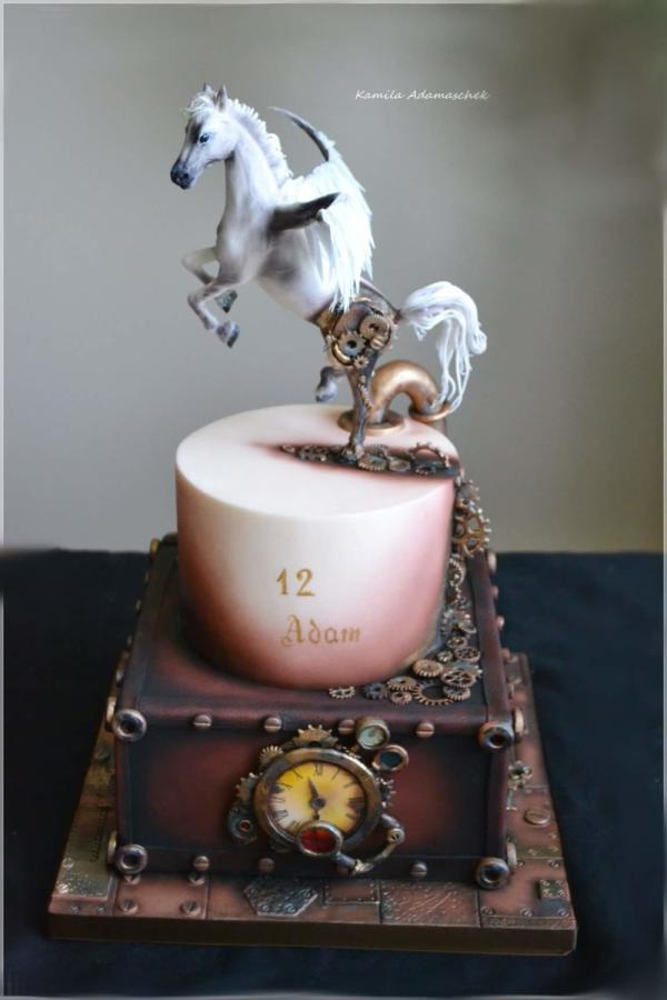 #Cake Awesome of the Day: #Steampunk White Horse & Box #BirthdayCake Decorated with #Cogs & #Gears made by @CakesDecor #SamaCake