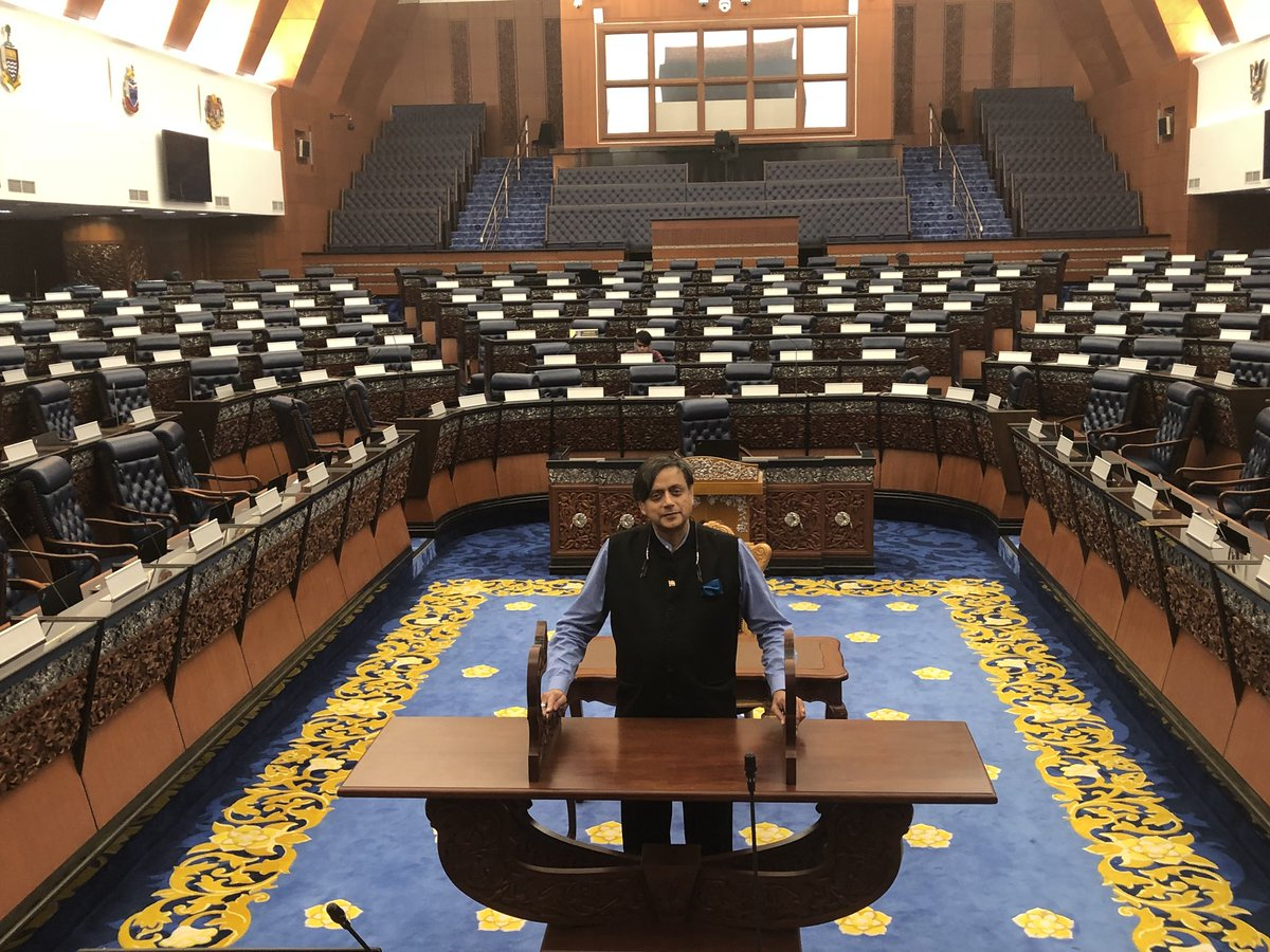 """Shashi Tharoor on Twitter: """"Visited the Malaysian Parliament &entered the empty chamber of the Lower House. Felt a pang of envy: Each MP has their own nameplate, plush leather swivel chair, laptop&mike."""