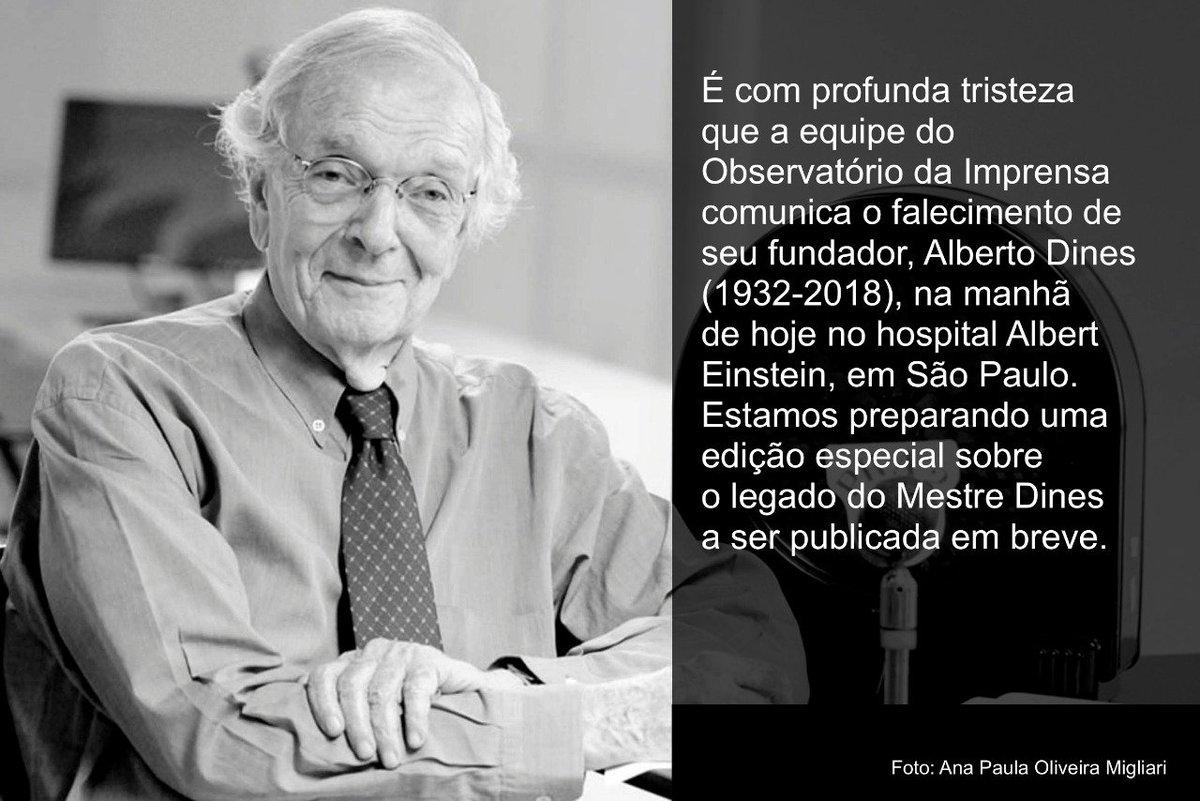 É com profunda tristeza que a equipe do OI comunica o falecimento de seu fundador, Alberto Dines (1932-2018) na manhã de hoje no hospital Albert Einstein, em São Paulo. Estamos preparando uma edição especial sobre o legado do Mestre Dines a ser publicada em breve.