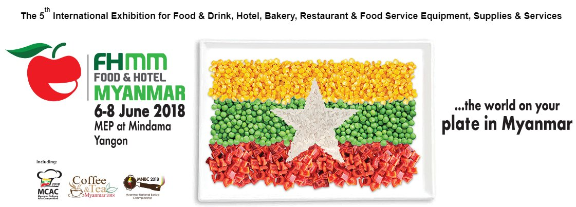 test Twitter Media - The 5th edition of Food and Hotel Myanmar 2018 kicks off tomorrow. 2017 saw 230 companies from 27 countries, including 6 national pavilions from Korea, Singapore, Taiwan, Thailand, Turkey and USA #Myanmar #Exhibition #Food #Export https://t.co/KV3VXhGKoF https://t.co/MNldj2H3l3