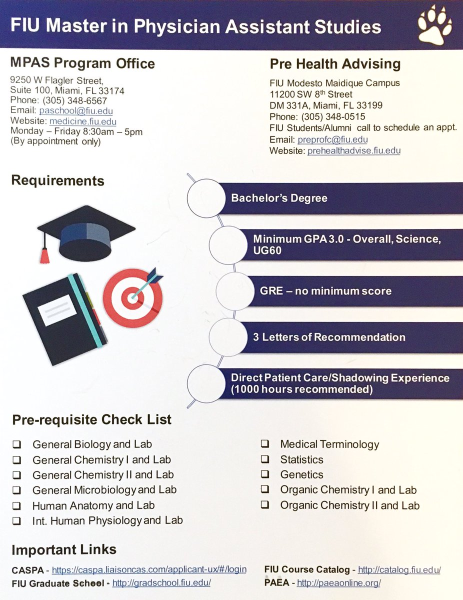 heres a helpful checklist to help you prepare your prerequisites experience and application for the physicianassistant program fiumedicine fiu