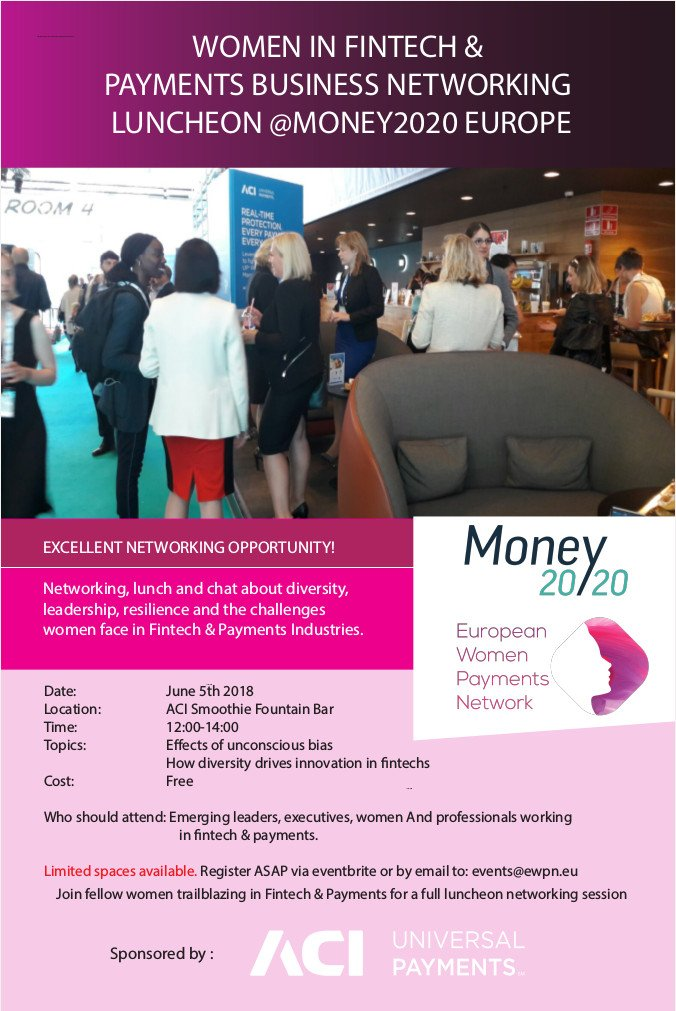 Join @WIPNEurope , @ACI_Worldwide &amp; @money2020 on June 5th for #WomenInFintech #WomenInPayments Networking Luncheon. Topics of discussion:  Effects of unconscious bias &amp; How diversity drives innovation in Fintechs. Register:  https://www. eventbrite.com/e/women-in-fin tech-payments-luncheon-money2020-europe-tickets-42380052879 &nbsp; … <br>http://pic.twitter.com/l502T5Dw9r