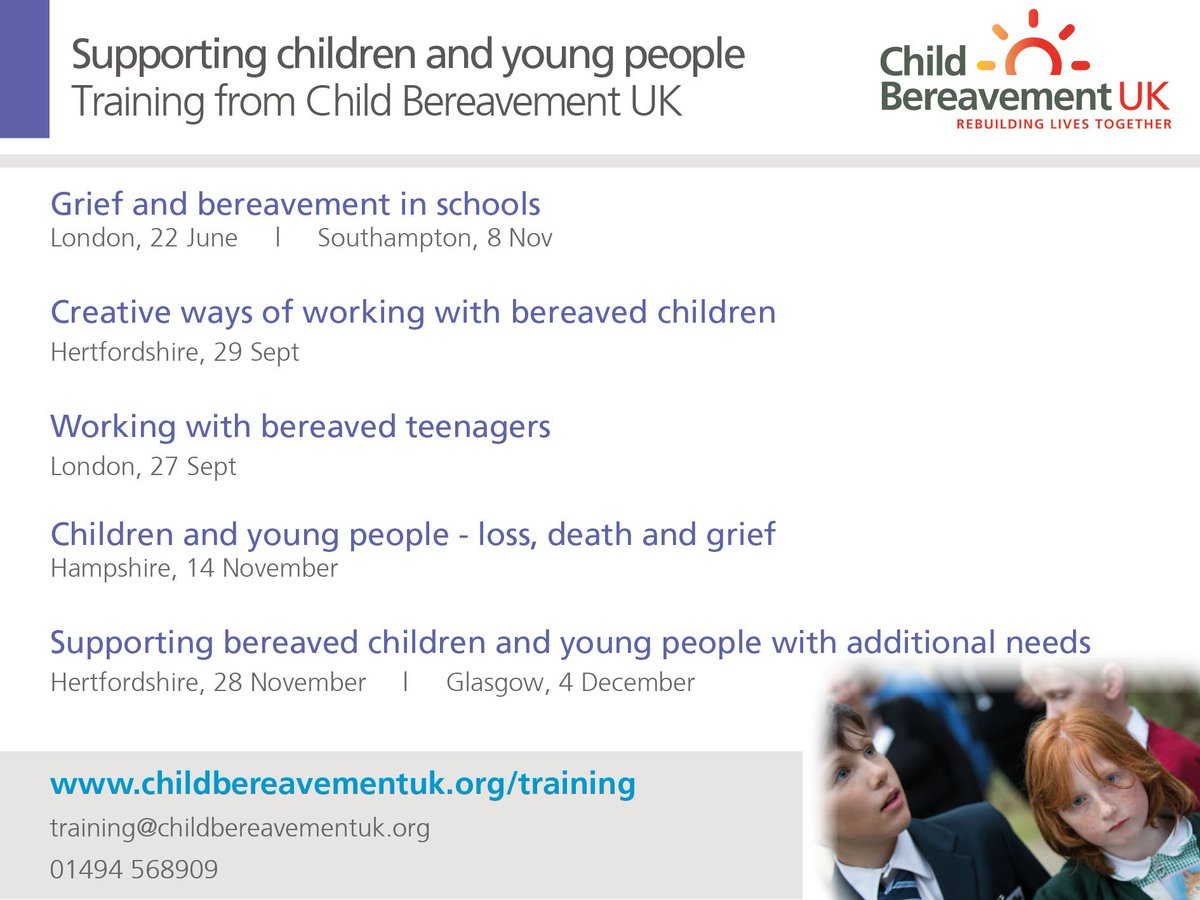 ... and confidence to work with bereaved children, we offer many #CPD  courses to support children and young people.
