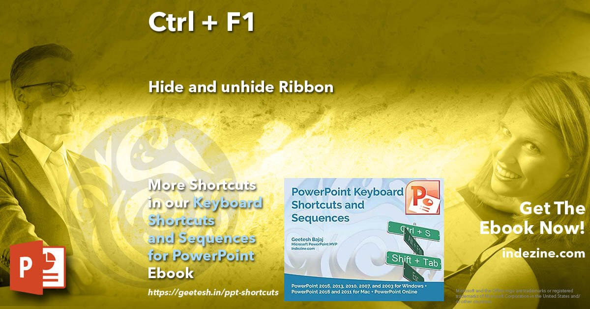 Replying to @Geetesh: Ctrl + F1: Hide and unhide Ribbon Get hundreds of undocumented shortcuts for #PowerPoint   @Geetesh #Design