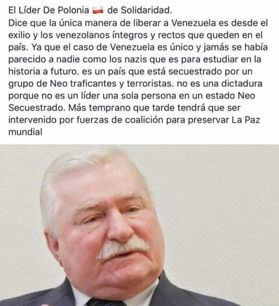 ¿Así es suficiente para entender nuestro drama o necesitan algo más claro.....?.....En Venezuela actúa una banda delincuencial que ha secuestrado las instituciones y a la poblacion con métodos fascistas. ¿Van a seguir rogando elecciones? lean lo que opina Premio Nobel Lech Walesa
