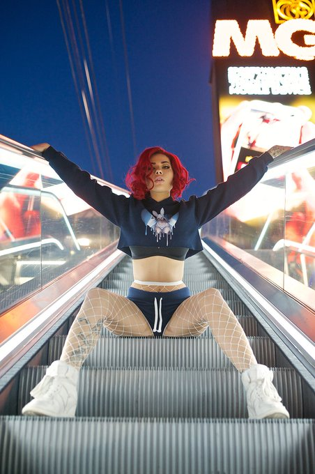 1 pic. Escalator things with @sideshowsito  - sweaters coming when my shop relaunches (working on it)