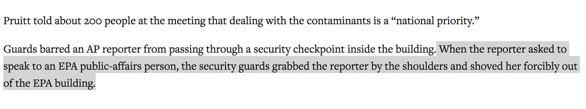 The EPA barred an AP reporter (and CNN) from an EPA summit. When the EPA reporter asked a security guard to speak with a press person they grabbed her and shoved her out of the EPA building. https://t.co/R6RPUzo42g