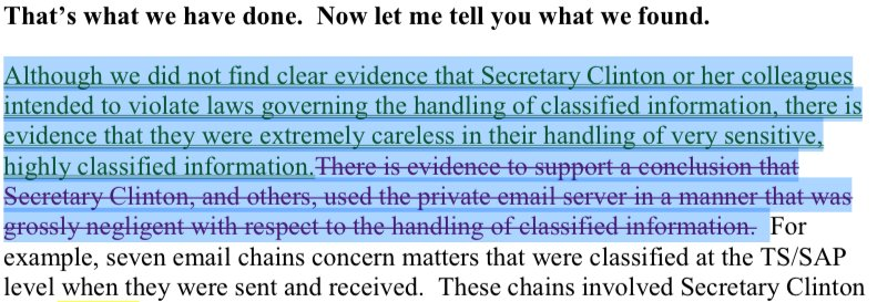 Document 34: What Comey originally proposed to say about Clinton classified email, and the changes FBI reviewing official suggested: