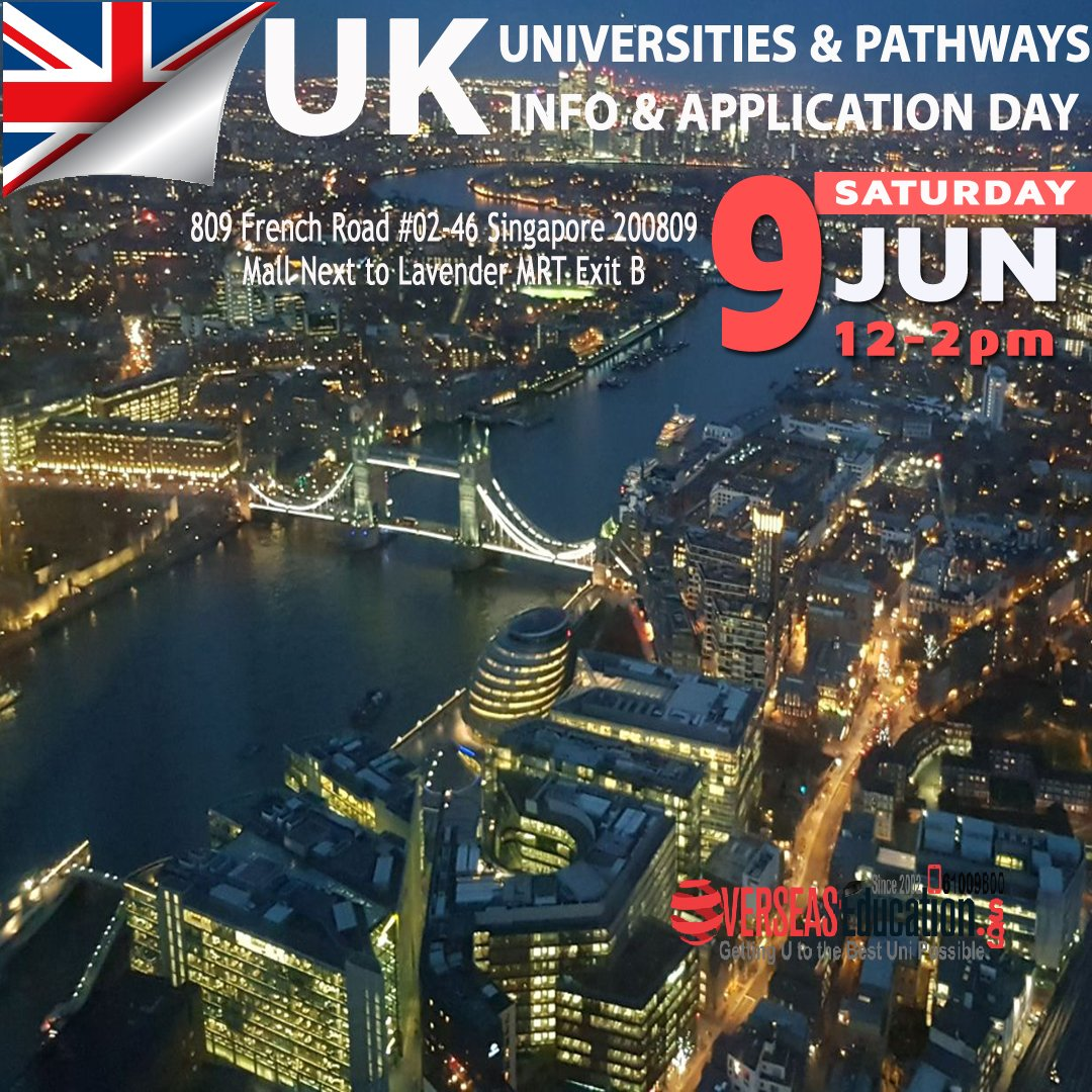 Thinking of Studying in UK for Direct, Pathways & Dip to Degree transfer? Find out more thru speaking with UK Unis, Unis Pathways at our Open House on Sat 9 June from 12 to 2 pm. Call 61009800 or visit http://uniapply.OverseasEducation.sg #ukeducation #ukunis #ukfdn pic.twitter.com/cdYFl5EWUS