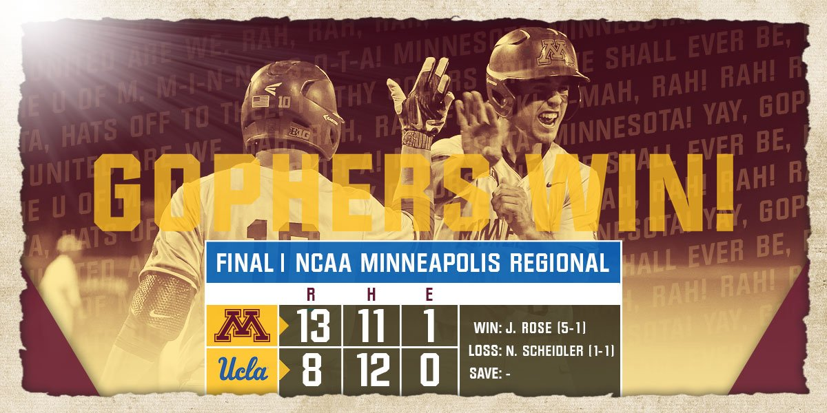 The #Gophers win their Regional for the first time since 1977! Well play on next week in the teams first ever Super Regional!