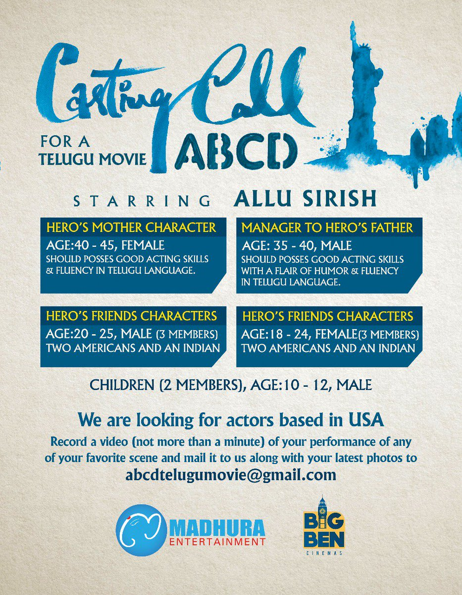 allu sirish movie ABCD casting call