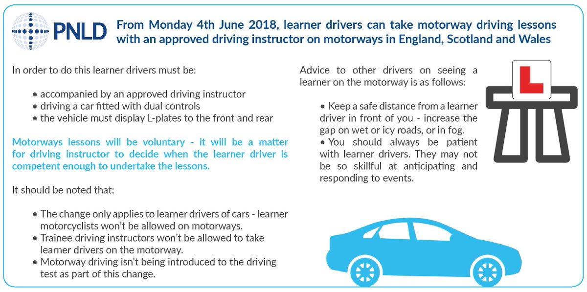 can learners drive on the motorway