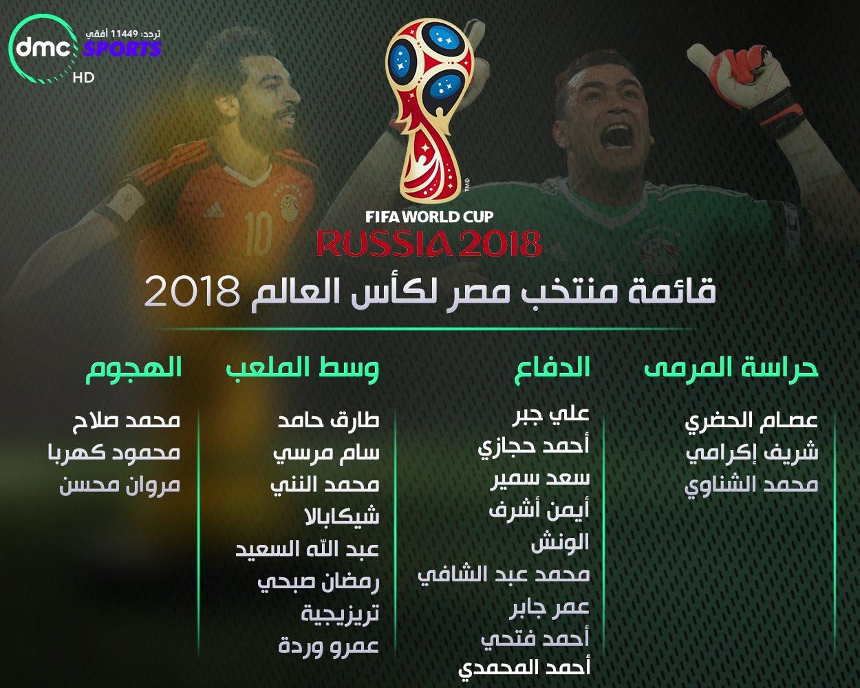 Dmc Sports On Twitter قائمة منتخب مصر لـ كأس العالم روسيا
