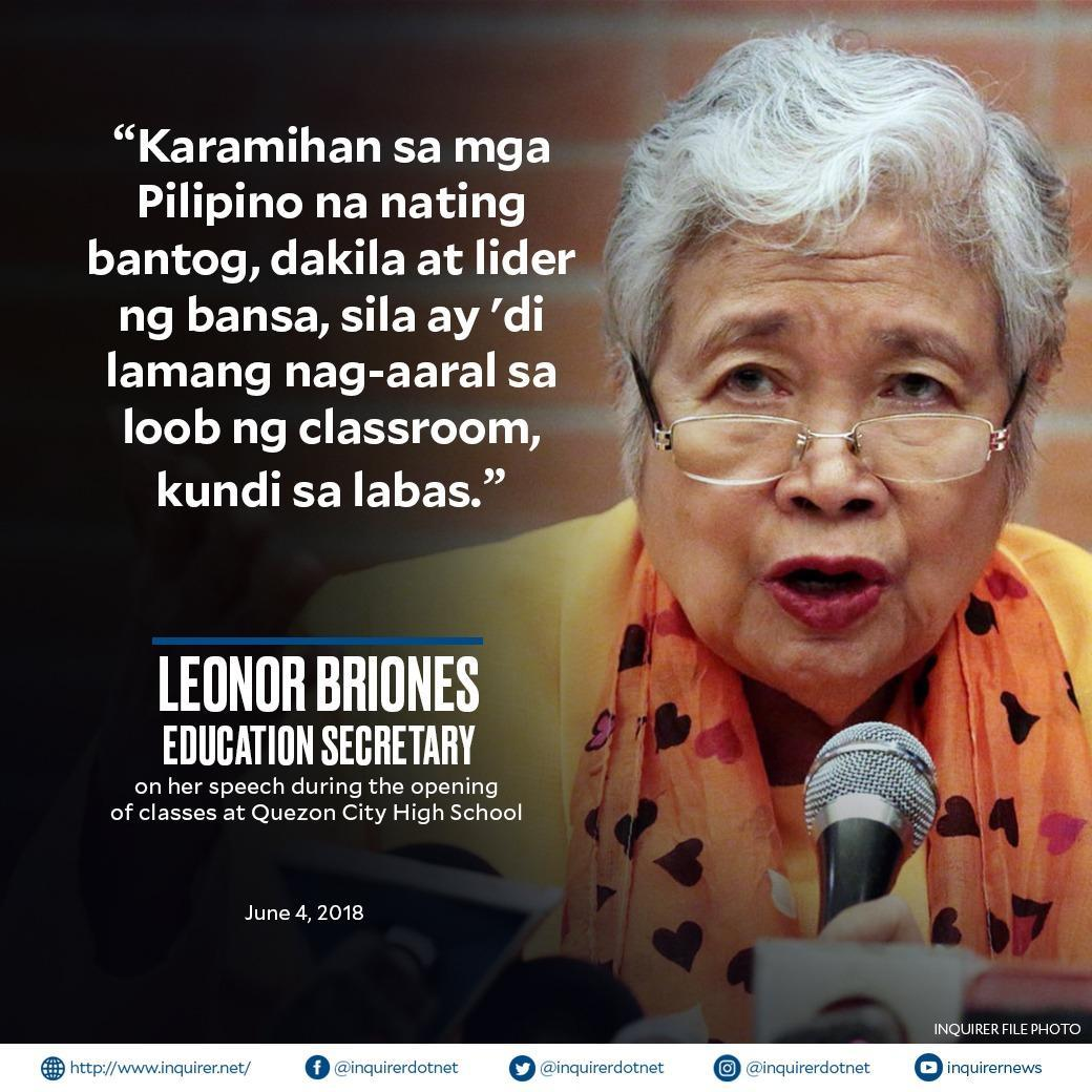 Education Secretary Leonor Briones urged students to take the learning process outside educational institutions. #BalikEskwela #INQNews  Read full story here:  https:// bit.ly/2LkoQ9W  &nbsp;  <br>http://pic.twitter.com/nsppflm9eo
