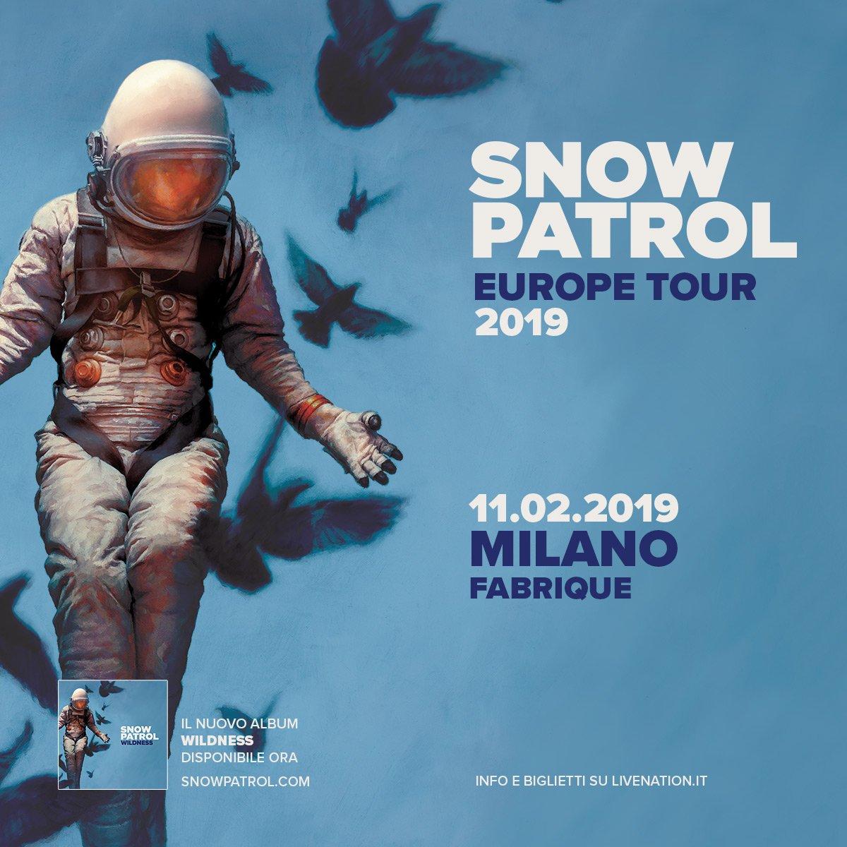 Snow Patrol: annunciate le nuove date del Tour Europeo! ** Unica data in Italia🇮🇹️ ** 11 Febbraio · Milano, Fabrique Biglietti disponibili dalle 10.00 di venerdì 8 giugno 2018 su > bit.ly/snowpatrol_mil…