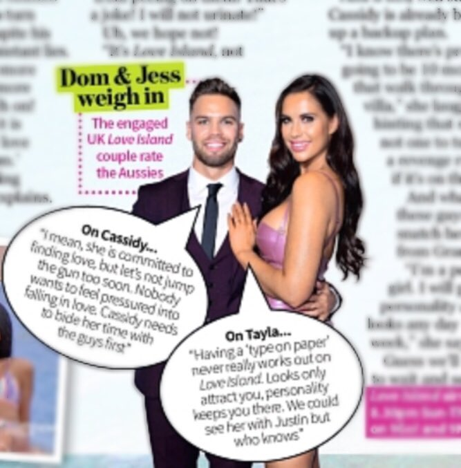 I put all my eggs in @LoveIsland babes @_DomLever and @Jessica_Rose_UK baskets, and they came through! The couple rated and slated the first ever @LoveIslandAU cast in this week's @NWmag Thanks so much guys 😍🙏🏼 #loveisland #loveislandau https://t.co/y4Qbackr83