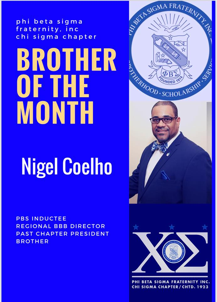 test Twitter Media - Please help me congratulate a Brother who is always clocked in for Phi Beta Sigma Fraternity Inc. - Chi Sigma Chapter. The Brother of the month for June 2018 is one Nigel Coelho! https://t.co/YY52StPvAU